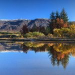 Autumn, colors, Þingvellir, Blue, Tree, Haust, Reflection