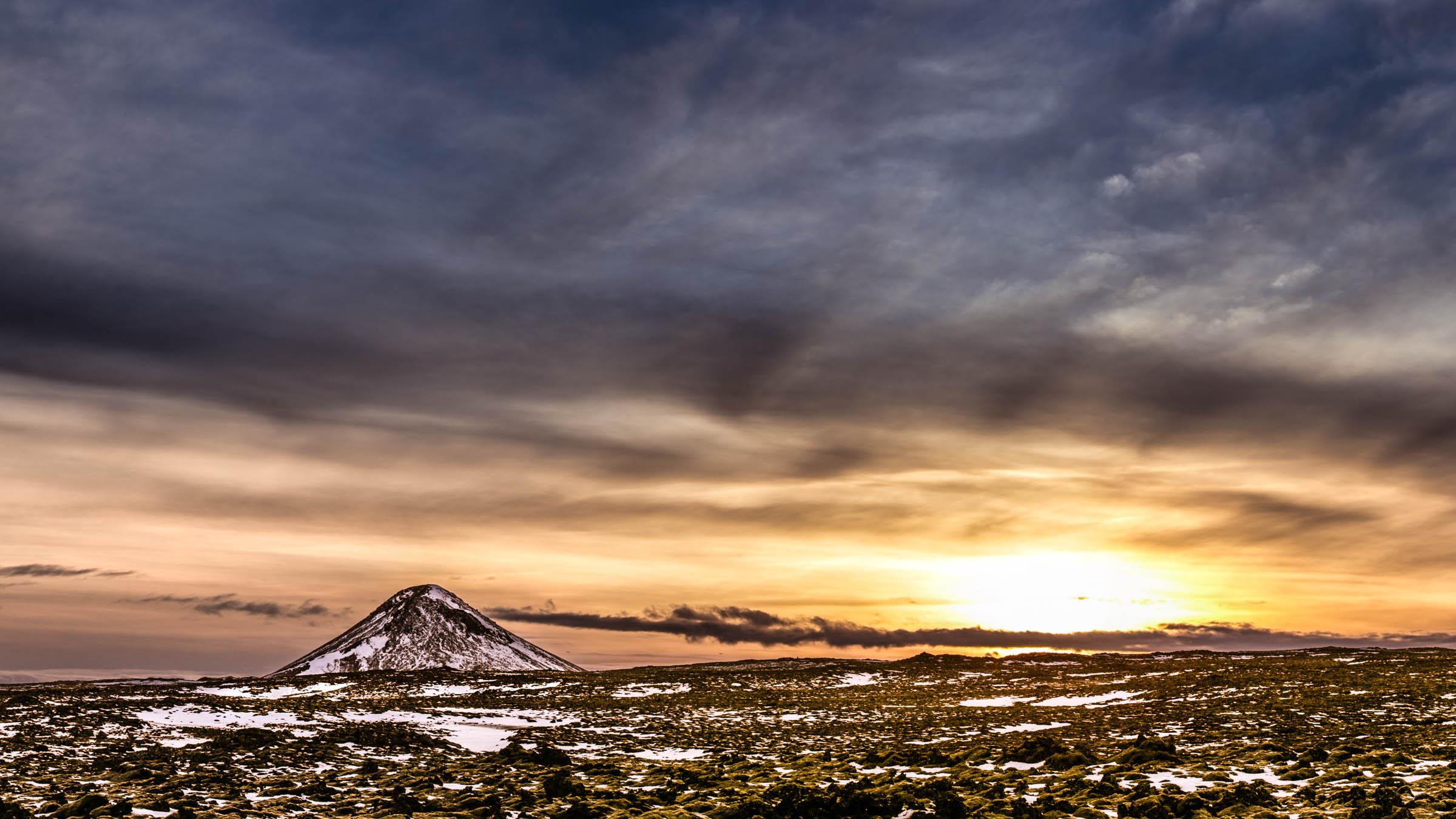 Keilir, Iceland, sunset, mountain, sun, panorama